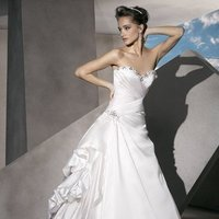 Wedding Dresses, A-line Wedding Dresses, Fashion, Draping, A-line, Demetrios, Organza, Jeweled, Taffeta, Ruched, wrap bodice, a-line skirt, laced up, side bustles, organza wedding dresses, taffeta wedding dresses