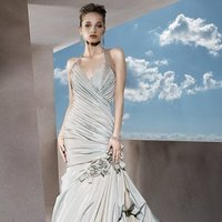 Wedding Dresses, Fashion, Flowers, Halter, Straps, Demetrios, Taffeta, Ruched, V-neckline, bubble hem, beaded straps, laced back, side bustle, halter wedding dresses, taffeta wedding dresses, Flower Wedding Dresses