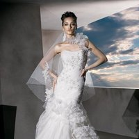 Wedding Dresses, Sweetheart Wedding Dresses, One-Shoulder Wedding Dresses, Lace Wedding Dresses, Fashion, Lace, Sweetheart, Strapless, Strapless Wedding Dresses, Layers, Demetrios, Organza, Beaded, Pleated, Ruffled, One-shoulder, ruched bodice, chocker, scrolled ruffles, organza wedding dresses