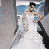 Wedding Dresses, Sweetheart Wedding Dresses, One-Shoulder Wedding Dresses, Fashion, Sweetheart, Tulle, Demetrios, Beaded, Taffeta, Embellished, Bustles, One-shoulder, corset bodice, laced back, floral beading, flared skirt, taffeta wedding dresses, tulle wedding dresses