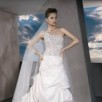 Wedding Dresses, One-Shoulder Wedding Dresses, A-line Wedding Dresses, Fashion, A-line, Demetrios, Beaded, Clusters, Embellished, Bustles, One-shoulder, a-line skirt, corset bodice, floral beading, matching beading