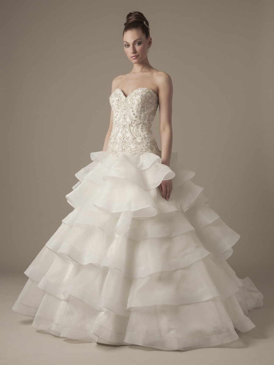 Wedding Dresses, Sweetheart Wedding Dresses, Ball Gown Wedding Dresses, Ruffled Wedding Dresses, Romantic Wedding Dresses, Hollywood Glam Wedding Dresses, Fashion, ivory, Summer, Romantic, Sweetheart, Strapless, Strapless Wedding Dresses, Beading, Floor, Formal, Silk, Ruffles, Dropped, Ball gown, Dennis basso, Avant-Garde, hollywood glam, dennis basso for kleinfeld, Beaded Wedding Dresses, Formal Wedding Dresses, Silk Wedding Dresses, Summer Wedding Dresses, Floor Wedding Dresses