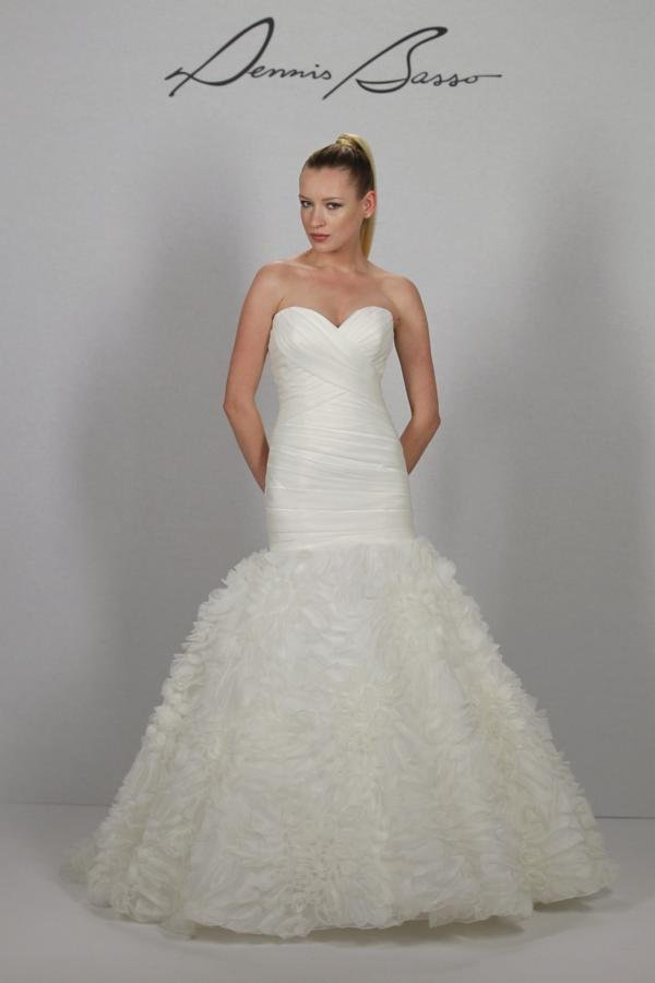 Wedding Dresses, Sweetheart Wedding Dresses, Ruffled Wedding Dresses, Romantic Wedding Dresses, Fashion, ivory, Mermaid, Romantic, Sweetheart, Strapless, Strapless Wedding Dresses, Trumpet, Floor, Formal, Organza, Ruffles, Dropped, Pleats, dennis basso for kleinfeld, dennis bass, organza wedding dresses, Formal Wedding Dresses, Floor Wedding Dresses