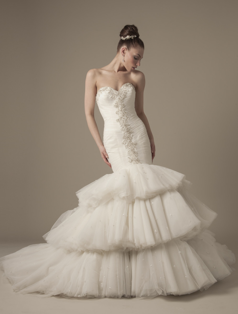 Wedding Dresses, Sweetheart Wedding Dresses, Hollywood Glam Wedding Dresses, Fashion, Mermaid, Sweetheart, Strapless, Strapless Wedding Dresses, Beading, Tulle, Trumpet, Tiers, Dennis basso, Avant-Garde, hollywood glam, dennis basso for kleinfeld, Beaded Wedding Dresses, tulle wedding dresses, Tiered Wedding Dresses