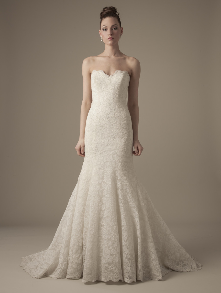 Wedding Dresses, Sweetheart Wedding Dresses, Lace Wedding Dresses, Vintage Wedding Dresses, Fashion, ivory, Vintage, Modern, Classic, Mermaid, Lace, Sweetheart, Strapless, Strapless Wedding Dresses, Trumpet, Floor, Formal, Natural, Dennis basso, dennis basso for kleinfeld, Modern Wedding Dresses, Classic Wedding Dresses, Formal Wedding Dresses, Floor Wedding Dresses