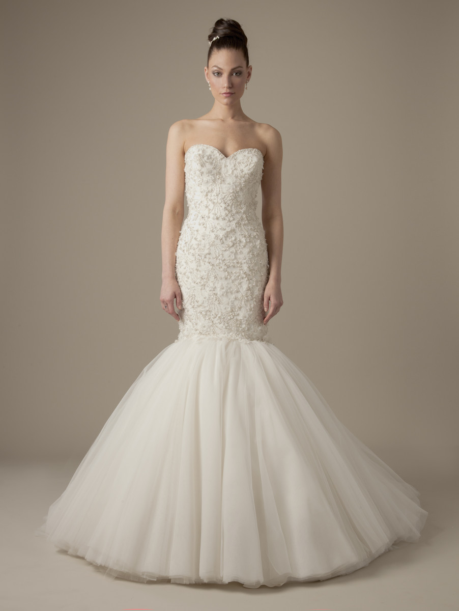 Wedding Dresses, Sweetheart Wedding Dresses, Romantic Wedding Dresses, Hollywood Glam Wedding Dresses, Fashion, Mermaid, Romantic, Sweetheart, Strapless, Strapless Wedding Dresses, Beading, Tulle, Trumpet, Floor, Dropped, Dennis basso, hollywood glam, dennis basso for kleinfeld, Beaded Wedding Dresses, tulle wedding dresses, Floor Wedding Dresses