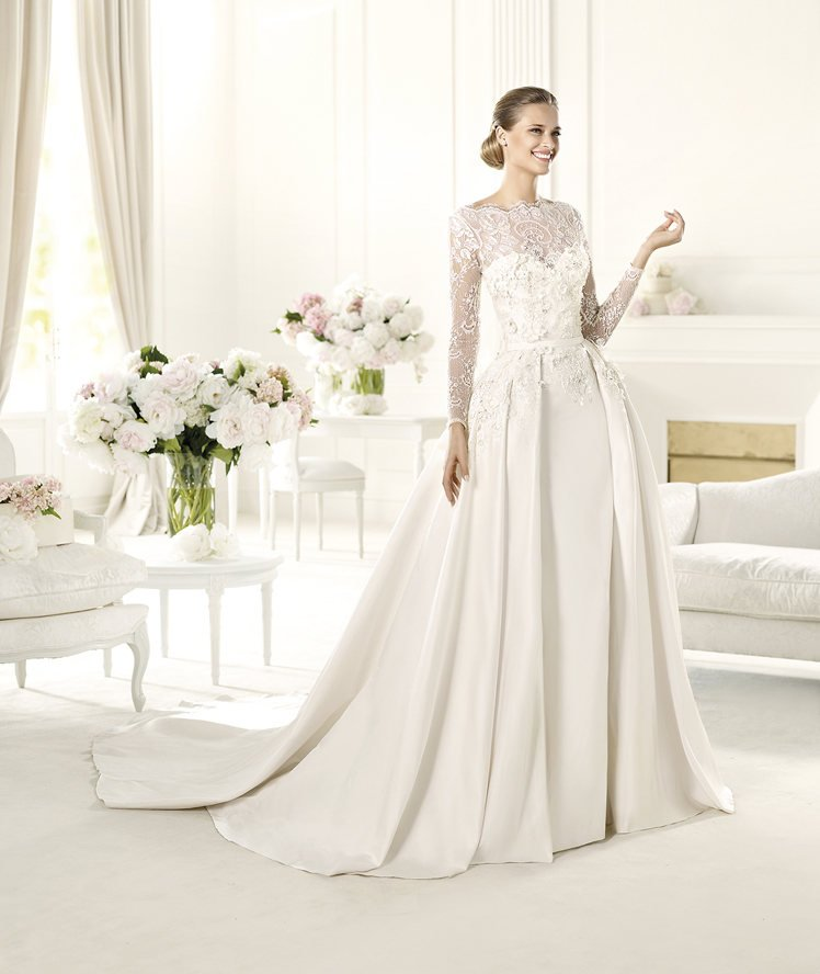 Wedding Dresses, Sweetheart Wedding Dresses, Illusion Neckline Wedding Dresses, A-line Wedding Dresses, Lace Wedding Dresses, Romantic Wedding Dresses, Hollywood Glam Wedding Dresses, Fashion, Classic, Romantic, Lace, Sweetheart, A-line, Beading, Satin, Floor, Formal, Illusion, Long sleeve, Elie saab, high-neck, bateau, hollywood glam, illusion sleeves, Elie Saab Couture, elie saab for pronovias, Bateau Wedding Dresses, Beaded Wedding Dresses, High Neck Wedding Dresses, Classic Wedding Dresses, satin wedding dresses, Formal Wedding Dresses, Floor Wedding Dresses
