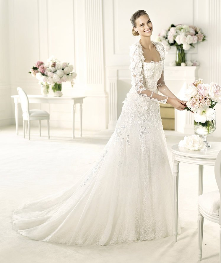 Wedding Dresses, A-line Wedding Dresses, Lace Wedding Dresses, Romantic Wedding Dresses, Hollywood Glam Wedding Dresses, Fashion, white, ivory, Square, Flowers, Romantic, Lace, A-line, Beading, Floor, Formal, Long sleeve, Elie saab, hollywood glam, illusion sleeves, Elie Saab Couture, elie saab for pronovias, Beaded Wedding Dresses, Flower Wedding Dresses, Square Neckline Wedding Dresses, Formal Wedding Dresses, Floor Wedding Dresses