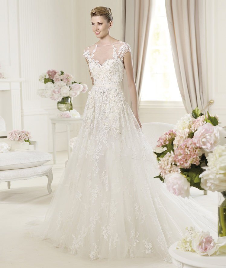 Wedding Dresses, Sweetheart Wedding Dresses, Illusion Neckline Wedding Dresses, A-line Wedding Dresses, Lace Wedding Dresses, Romantic Wedding Dresses, Fashion, white, ivory, Romantic, Lace, Sweetheart, A-line, Beading, Tulle, Floor, Formal, Organza, Illusion, Elie saab, short sleeve, illusion sleeves, Elie Saab Couture, elie saab for pronovias, Beaded Wedding Dresses, organza wedding dresses, tulle wedding dresses, Formal Wedding Dresses, Floor Wedding Dresses