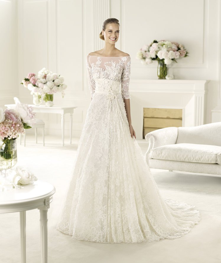 Wedding Dresses, Illusion Neckline Wedding Dresses, A-line Wedding Dresses, Lace Wedding Dresses, Romantic Wedding Dresses, Hollywood Glam Wedding Dresses, Fashion, white, ivory, Romantic, Lace, A-line, Beading, Floor, Formal, Illusion, Long sleeve, Elie saab, high-neck, Sash/Belt, hollywood glam, illusion sleeves, Elie Saab Couture, elie saab for pronovias, Beaded Wedding Dresses, High Neck Wedding Dresses, Formal Wedding Dresses, Floor Wedding Dresses, Sash Wedding Dresses, Belt Wedding Dresses