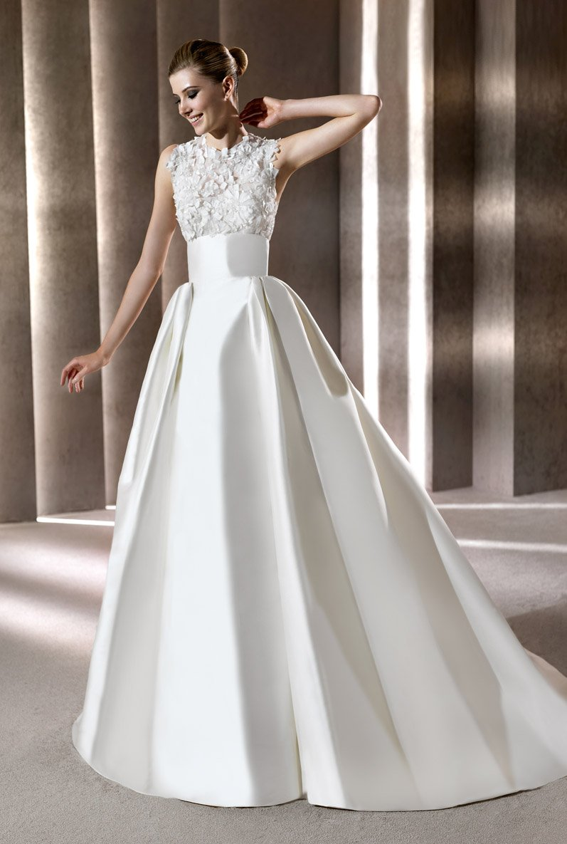 Wedding Dresses, A-line Wedding Dresses, Ball Gown Wedding Dresses, Fashion, Flowers, A-line, Beading, Empire, Satin, Floor, Formal, Modest, Sleeveless, Elie saab, Ball gown, high-neck, Sash/Belt, bateau, elie saab for pronovias, Bateau Wedding Dresses, Beaded Wedding Dresses, High Neck Wedding Dresses, satin wedding dresses, Flower Wedding Dresses, Formal Wedding Dresses, Floor Wedding Dresses, Modest Wedding Dresses, Sash Wedding Dresses, Belt Wedding Dresses