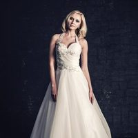 white, ivory, Modern, Classic, Romantic, Lace, Sweetheart, Beading, Halter, Tulle, Floor, Natural, Sleeveless, Ball gown, Ella Rosa