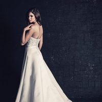 white, ivory, Modern, Classic, Romantic, Sweetheart, Strapless, A-line, Beading, Satin, Floor, Natural, Sleeveless, Ella Rosa