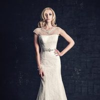 white, ivory, silver, Classic, Romantic, Lace, Beading, Jewel, Floor, Dropped, Sash/Belt, Fit-n-Flare, cap sleeve, Ella Rosa