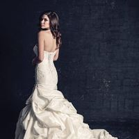 white, ivory, Modern, Classic, Romantic, Lace, Strapless, Beading, Floor, Scoop, Dropped, Sleeveless, Mermaid/Trumpet, Ella Rosa