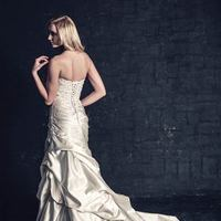 white, ivory, Classic, Romantic, Strapless, Beading, Satin, Floor, Scoop, Dropped, Sleeveless, Ruching, Mermaid/Trumpet, Ella Rosa