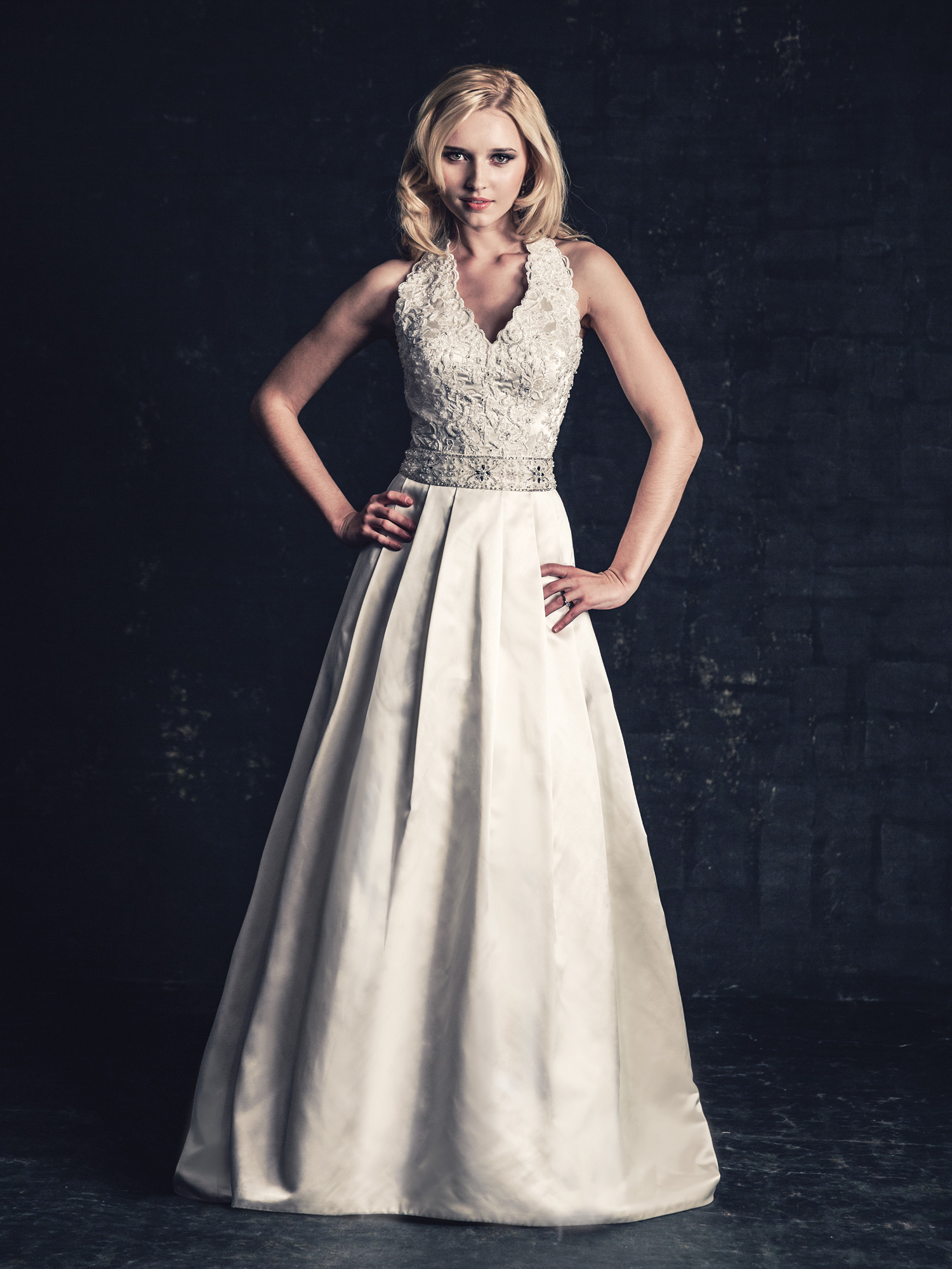white, ivory, silver, Modern, Classic, Romantic, Lace, A-line, Beading, Halter, V-neck, Satin, Floor, Natural, Sleeveless, Ella Rosa
