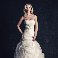 white, ivory, Classic, Romantic, Strapless, Petals, Floor, Organza, Scoop, Dropped, Sleeveless, Ruching, Mermaid/Trumpet, Ella Rosa