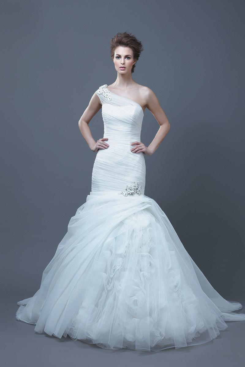 Wedding Dresses, One-Shoulder Wedding Dresses, Romantic Wedding Dresses, Fashion, Mermaid, Romantic, Beading, Enzoani, Ruffled, One-shoulder, Beaded Wedding Dresses