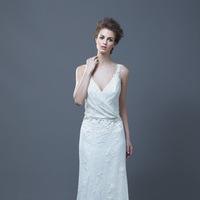 Wedding Dresses, Lace Wedding Dresses, Fashion, Lace, V-neck, V-neck Wedding Dresses, Sheath, Enzoani, Sheath Wedding Dresses