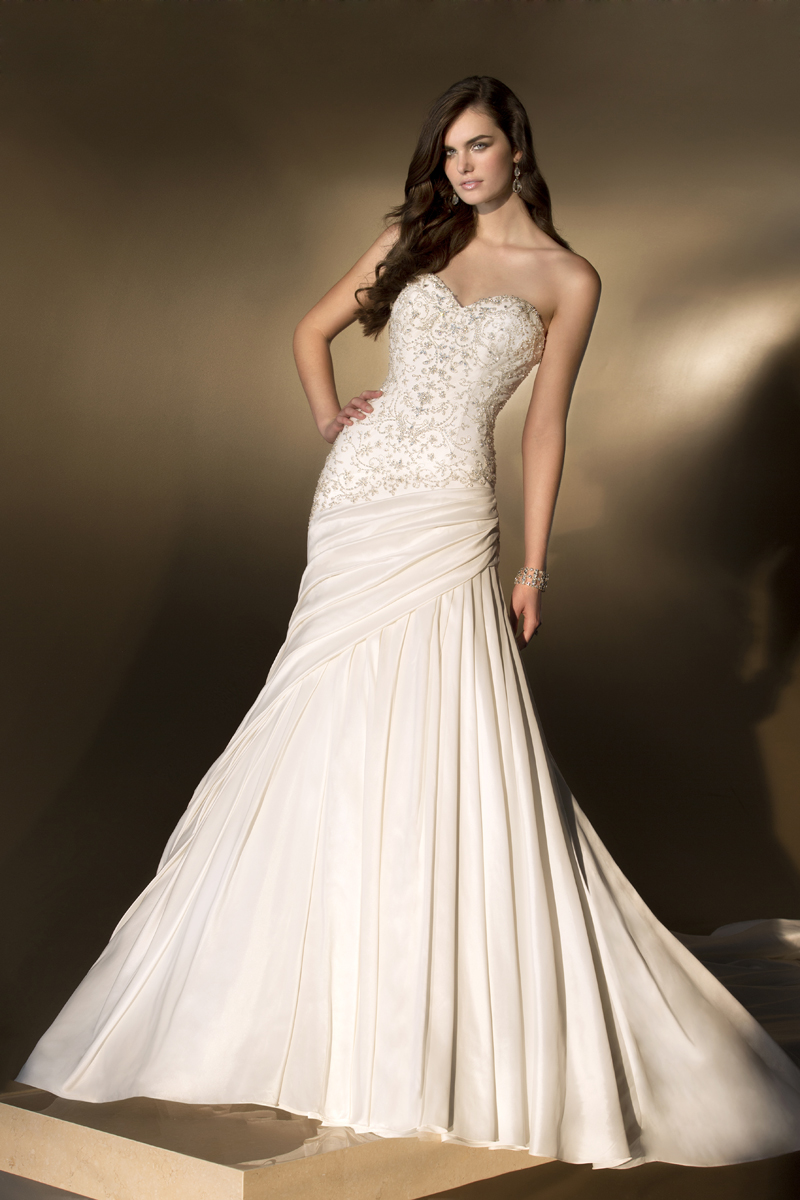 Wedding Dresses, Sweetheart Wedding Dresses, Fashion, Sweetheart, Essense of australia, dropped waist, crystal beading, luxe taffeta, pleated skirt, asymmetrical pleats