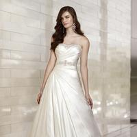 Wedding Dresses, A-line Wedding Dresses, Fashion, A-line, Beading, Belt, Essense of australia, chapel train, pleated skirt, ruched bodice, Dolce Satin, Beaded Wedding Dresses