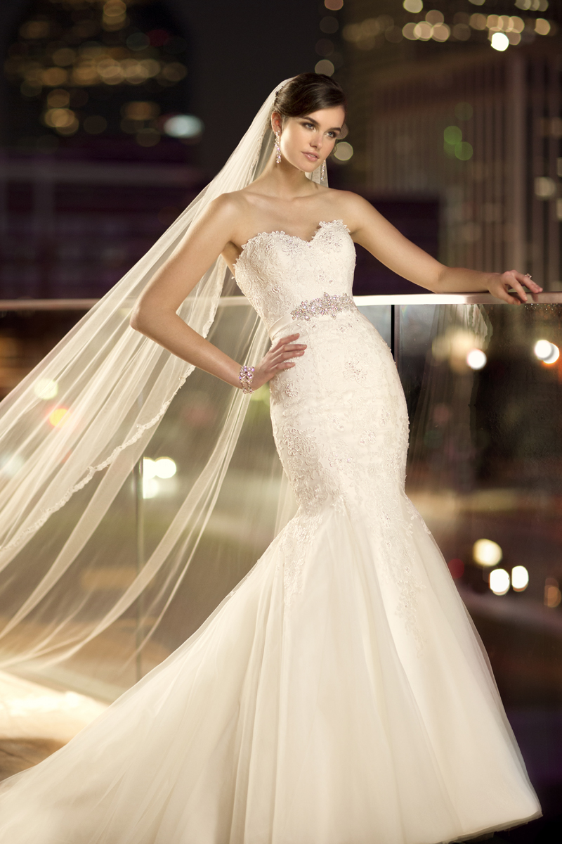 This lace and tulle fitandflare designer wedding gown has for Full body wedding dress