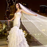 Wedding Dresses, Sweetheart Wedding Dresses, Ruffled Wedding Dresses, Fashion, Sweetheart, Strapless, Strapless Wedding Dresses, Beading, Ruffles, Essense of australia, Full skirt, dropped waist, crystal beading, layered skirt, soft organza, Beaded Wedding Dresses