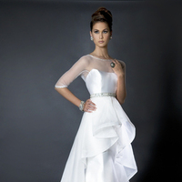 Ruffled Wedding Dresses, Fashion, white, Sleeves, Wedding dress, Ruffles, Sheer, Eugenia couture