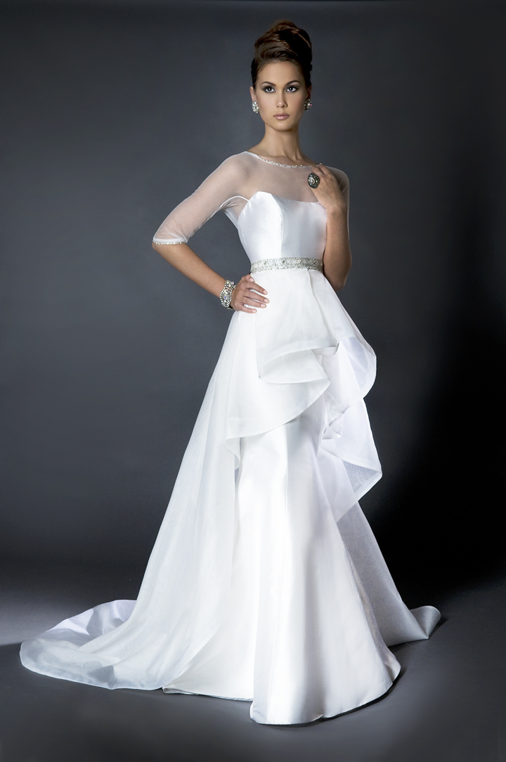 Ruffled Wedding Dresses, Fashion, white, Sleeves, Wedding dress, Ruffles, Sheer, Eugenia couture