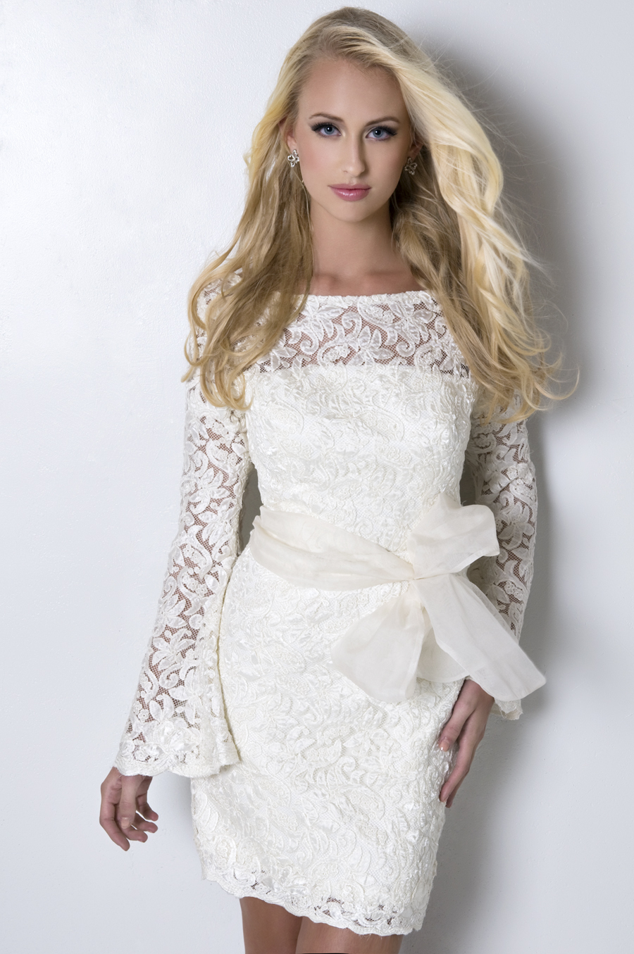 Lace Wedding Dresses, Fashion, white, Spring, Lace, Sleeves, Short, Wedding dress, Eugenia couture, high-neck, knee length, Short Wedding Dresses, Spring Wedding Dresses, High Neck Wedding Dresses