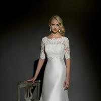 A-line Wedding Dresses, Lace Wedding Dresses, Fashion, white, Lace, A-line, Sleeves, Floor, Wedding dress, Silk, Scoop, Eugenia couture, high-neck, High Neck Wedding Dresses, Silk Wedding Dresses, Scoop Neckline Wedding Dresses, Floor Wedding Dresses