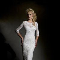 white, Lace, Floor, Wedding dress, Natural, Eugenia couture, high-neck, 3/4 Sleeves, Sheeth