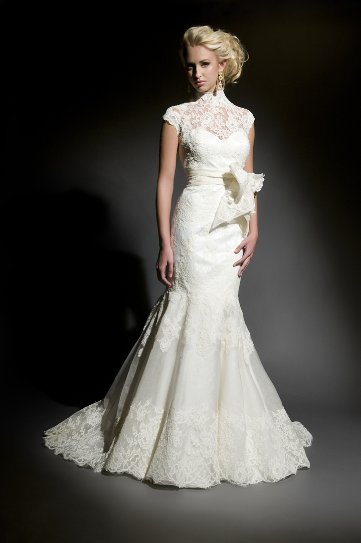 Lace Wedding Dresses, Fashion, ivory, Lace, Sheath, Floor, Wedding dress, Natural, Eugenia couture, high-neck, High Neck Wedding Dresses, Sheath Wedding Dresses, Floor Wedding Dresses