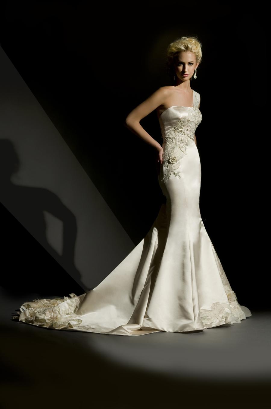 Romantic Wedding Dresses, Fashion, white, ivory, Romantic, Beading, Satin, Floor, Wedding dress, Natural, Eugenia couture, Beaded Wedding Dresses, satin wedding dresses, Floor Wedding Dresses