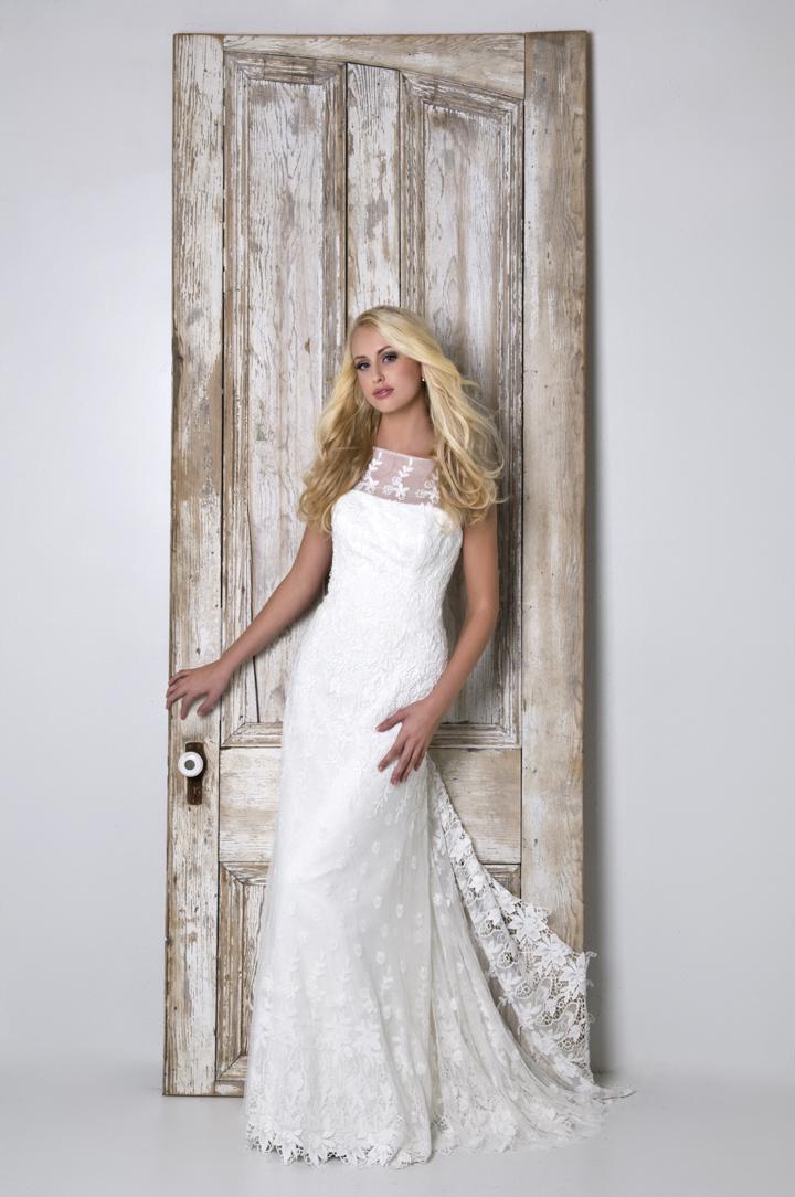 Lace Wedding Dresses, Romantic Wedding Dresses, Fashion, white, Romantic, Lace, Sheath, Floor, Wedding dress, Natural, Sleeveless, Eugenia couture, high-neck, High Neck Wedding Dresses, Sheath Wedding Dresses, Floor Wedding Dresses
