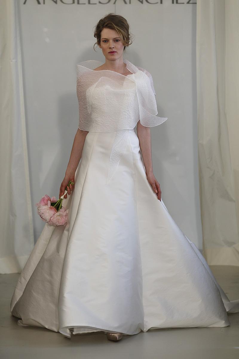 Wedding Dresses, A-line Wedding Dresses, Fashion, white, Fall Weddings, Modern Weddings, Angel sanchez, Wedding Dresses with Jackets