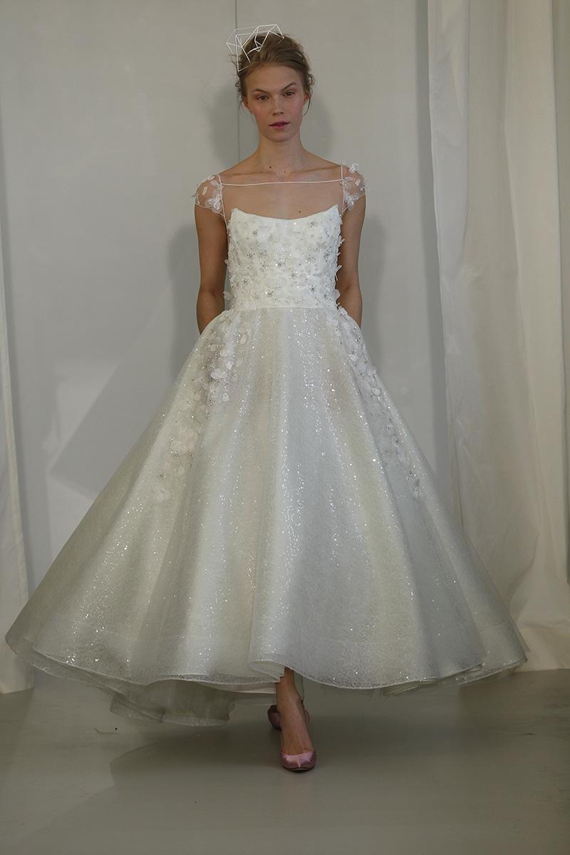 Wedding Dresses, Illusion Neckline Wedding Dresses, Vintage Wedding Dresses, Fashion, white, Classic Weddings, Vintage Weddings, Angel sanchez, Tea Length Wedding Dresses