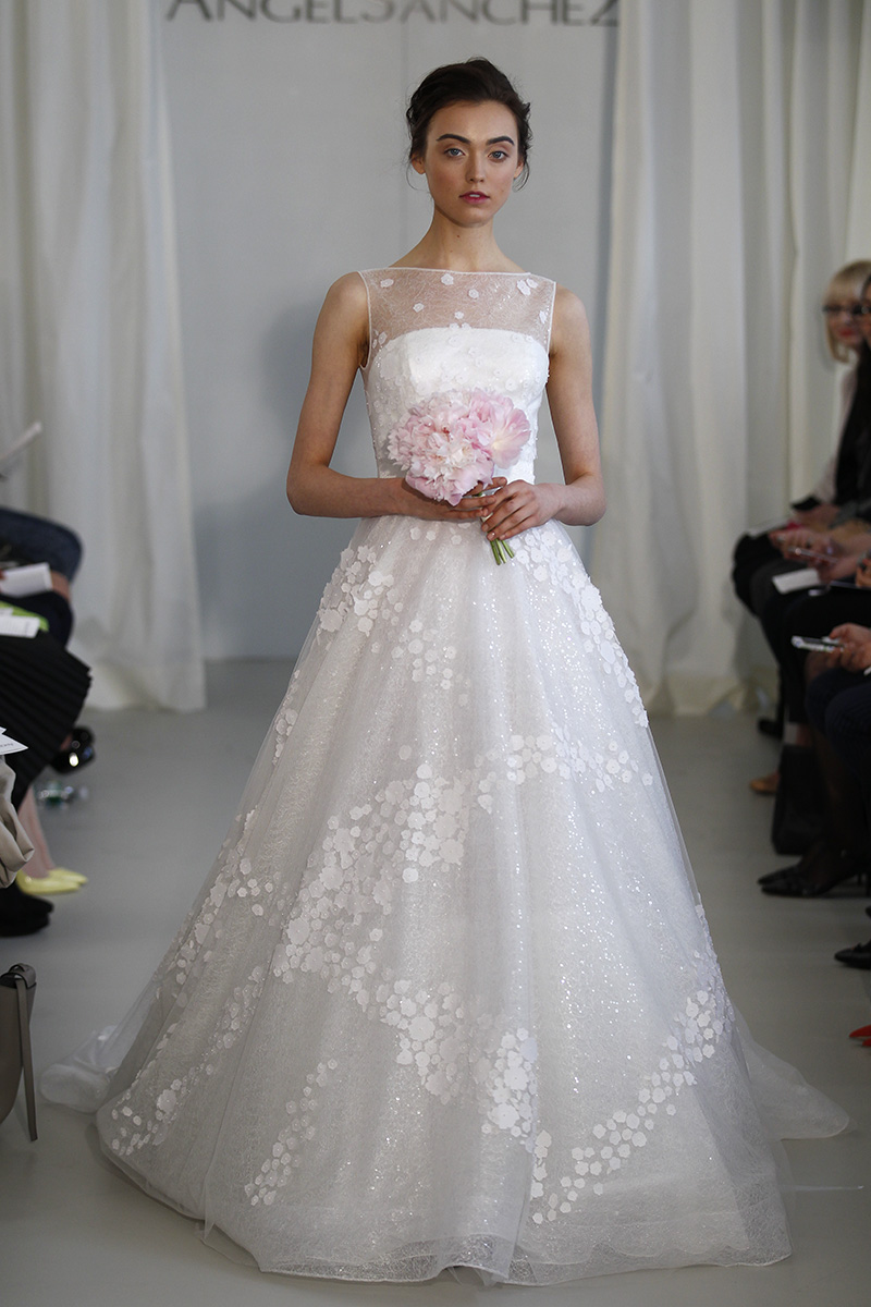 Wedding Dresses, Illusion Neckline Wedding Dresses, A-line Wedding Dresses, Lace Wedding Dresses, Romantic Wedding Dresses, Fashion, white, Fall Weddings, Spring Weddings, Garden Weddings, Modern Weddings, Angel sanchez
