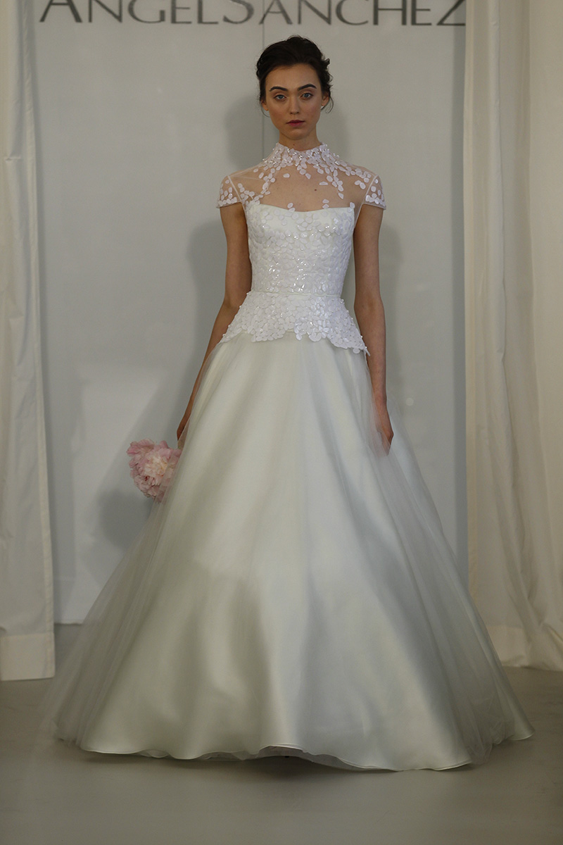 Wedding Dresses, Illusion Neckline Wedding Dresses, A-line Wedding Dresses, Vintage Wedding Dresses, Fashion, white, Classic Weddings, Vintage Weddings, Angel sanchez