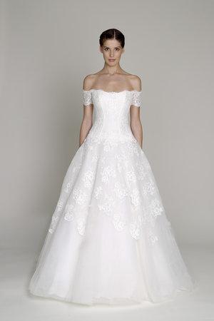 Wedding Dresses, A-line Wedding Dresses, Lace Wedding Dresses, Romantic Wedding Dresses, Fashion, Off the Shoulder Wedding Dresses, Bliss by Monique Lhuillier