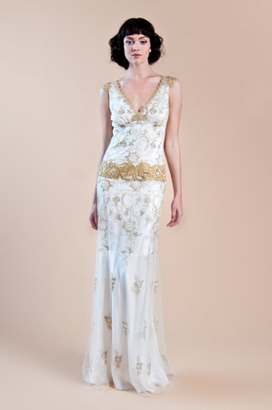 Wedding Dresses, Lace Wedding Dresses, Romantic Wedding Dresses, Vintage Wedding Dresses, Fashion, gold, Boho Chic Weddings, Vintage Weddings, V-neck Wedding Dresses, Claire pettibone