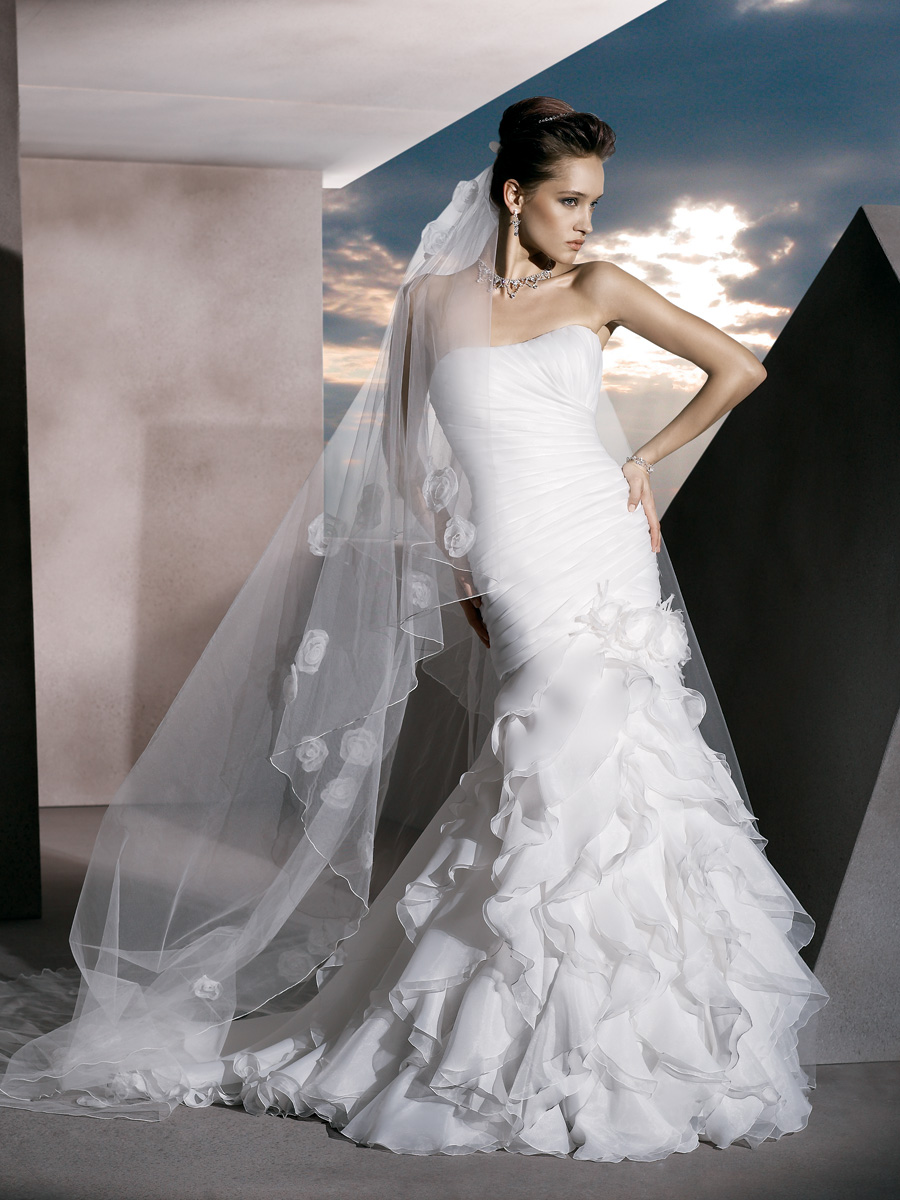 Wedding Dresses, Mermaid Wedding Dresses, Ruffled Wedding Dresses, Fashion, organza wedding dresses