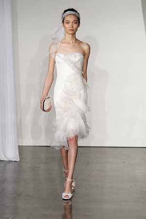 Wedding Dresses, Ruffled Wedding Dresses, Romantic Wedding Dresses, Fashion, Modern Weddings, Strapless Wedding Dresses, Marchesa, Short Wedding Dresses