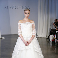 Wedding Dresses, Ball Gown Wedding Dresses, Lace Wedding Dresses, Vintage Wedding Dresses, Traditional Wedding Dresses, Fashion, white, Classic Weddings, Vintage Weddings, Marchesa, Wedding Dresses with Sleeves, Off the Shoulder Wedding Dresses