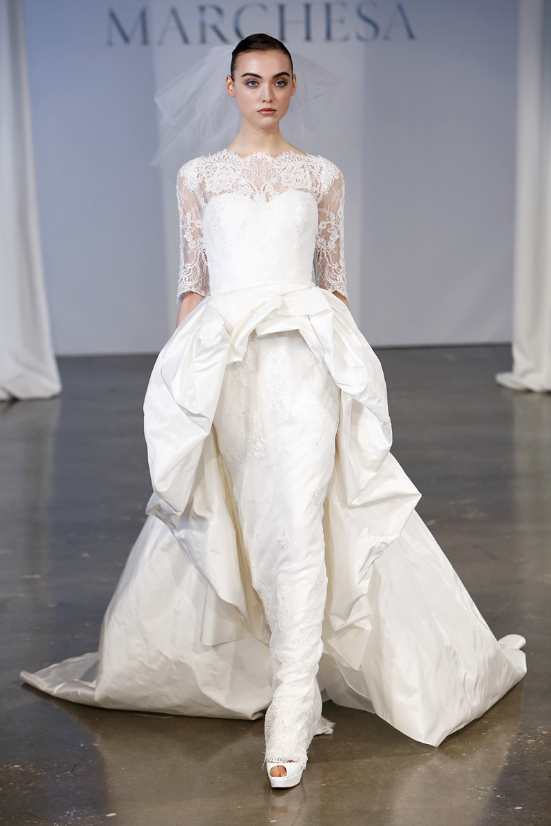 Wedding Dresses, Illusion Neckline Wedding Dresses, Ball Gown Wedding Dresses, Lace Wedding Dresses, Vintage Wedding Dresses, Traditional Wedding Dresses, Fashion, white, Classic Weddings, Vintage Weddings, Marchesa, Wedding Dresses with Sleeves