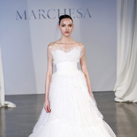 Wedding Dresses, A-line Wedding Dresses, Ruffled Wedding Dresses, Vintage Wedding Dresses, Traditional Wedding Dresses, Fashion, white, Classic Weddings, Vintage Weddings, Marchesa, Sweetheat Wedding Dresses