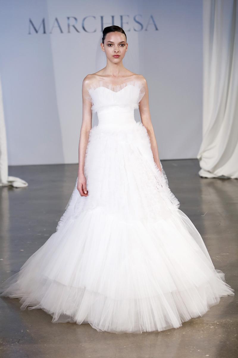 Wedding Dresses, A-line Wedding Dresses, Ruffled Wedding Dresses, Vintage Wedding Dresses, Traditional Wedding Dresses, Fashion, white, Classic Weddings, Vintage Weddings, Marchesa, Sweetheat Wedding Dresses