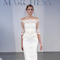 Wedding Dresses, Mermaid Wedding Dresses, Lace Wedding Dresses, Vintage Wedding Dresses, Fashion, white, Spring Weddings, Classic Weddings, Vintage Weddings, Marchesa, Wedding Dresses with Sleeves, Off the Shoulder Wedding Dresses, Short Wedding Dresses