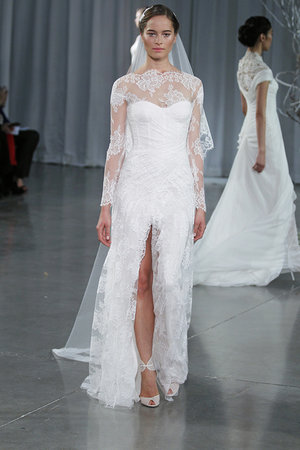 Wedding Dresses, Illusion Neckline Wedding Dresses, Lace Wedding Dresses, Romantic Wedding Dresses, Fashion, Monique lhuillier, Wedding Dresses with Sleeves
